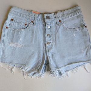 Levi's Light Wash Button Fly Cutoff 501 Shorts